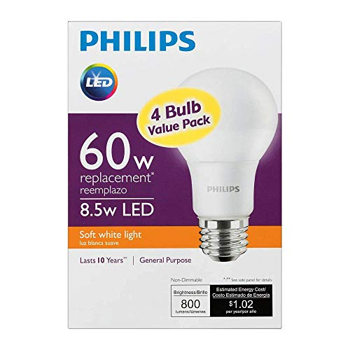 Philips New 60-Watt Equivalent A19 LED Light Bulb Soft White - 2700K – (Pack of 4).