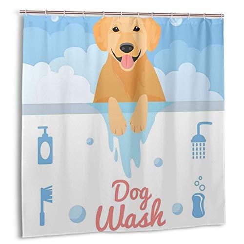 KOSALAER Duschvorhang,Hund, der in der Badewanne Cartoon Foam und Seifenhygiene wäscht,Vorhang Waschbar Langhaltig Hochwertig Bad Vorhang Polyester Stoff Wasserdichtes Design,mit Haken 180x180cm