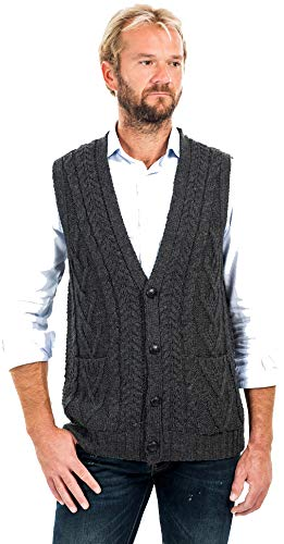 SAOL 100% Irish Merino Wool Mens V Neck Vest Sleeveless Cable Knit Cardigan Sweater with Buttons and Pockets (Charcoal, XXXLarge)