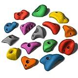 ALPIDEX 15 M/L Klettergriffe im Set Verschiedene Formen, kleine Henkel, Tritte, in vielen Farben, Farbe:Mixed Colour