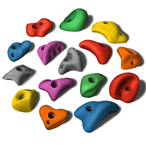 ALPIDEX 15 M/L Klettergriffe im Set Verschiedene Formen, kleine Henkel, Tritte - Mixed Colour