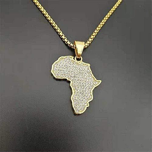 NC128 Collar Helado de Hip Hop, Collares y Colgantes de Mapa Africano, Cadena de Acero Inoxidable de Color Dorado para Mujeres/Hombres, joyería de África etíope