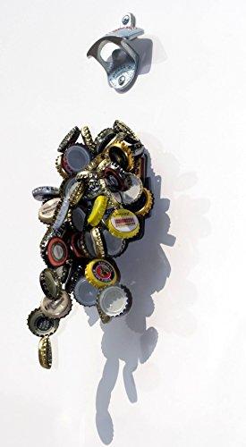 Wand-Flaschenöffner / Flaschen-Öffner mit Fangmagnet / Magnet-Falle + Blechschild