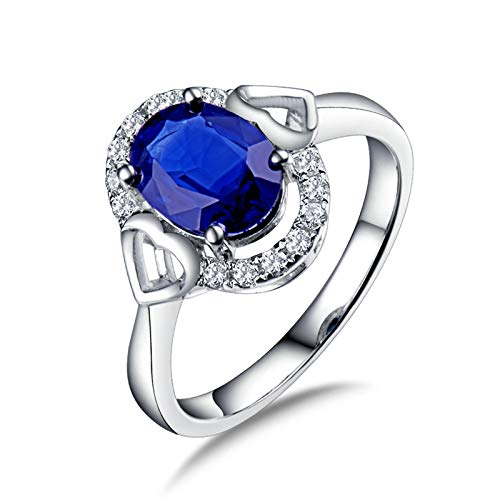Amody Sapphire Wedding Band, Wedding Ring White Gold Women Double Heart with 1.6ct Sapphire and 0.14ct Diamond Size I 1/2
