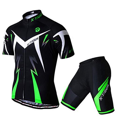 GLZTY Ropa de Ciclismo para Hombre,Traje de Ropa de Bicicleta de Montaña Manga Corta Transpirable + Pantalones Cortos Acolchados