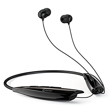 Phaiser Bluetooth Headphones Retractable Neckband Earbuds with Microphone Wireless Sweatproof Inear Earphones Portable Cordless Stereo Headset Black