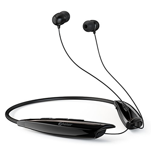 Phaiser Bluetooth Headphones, Retractable Neckband Earbuds with Microphone, Wireless Sweatproof Inear Earphones, Portable Cordless Stereo Headset, Black
