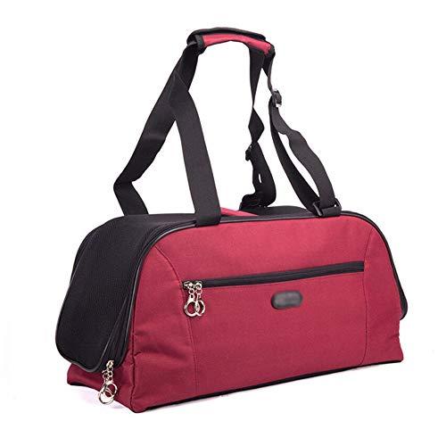 XiuHUa huisdier reistas, huisdier reizen transport, hond tas kat tas, ademende mode handtas, crossbody tas, kan worden geplaatst op de kofferbak, pet out apparaat - diep rood Ademende huisdier reistas, S