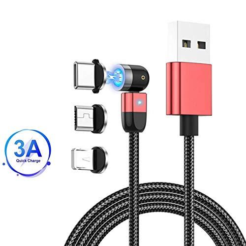 Cavo di ricarica magnetico, rotazione 360°e 180°(3.3ft/1m)Cavo di trasferimento dati USB 3A a ricarica rapida Cavo magnetico 3 in 1, compatibile con Mirco USB, tipo C e dispositivo iProduct Rosso