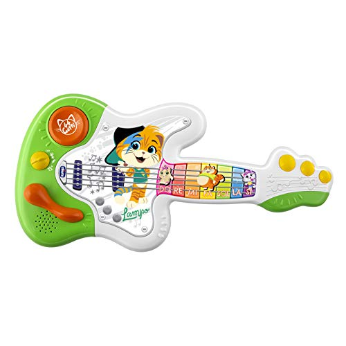 Chicco 44 CATS - Gitarre, Babys Musikspielzeug, Lernspielzeug Gitarre Babyspielzeug, Songs 6 Sounds aus der TV Serie 44 Cats