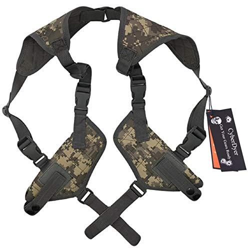 CyberDyer Tactical Double Draw Handgun Shoulder Holster Fully Adjustable Ambidextrous Horizontal Handgun Carrier