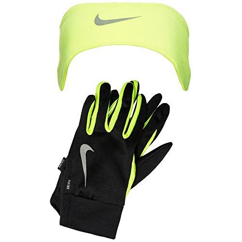 NIKE Dri-fit Men 's Running Headband/Glove Set Cinta/Guantes, Todo el año, Hombre, Color Negro/Amarillo, tamaño Extra-Large