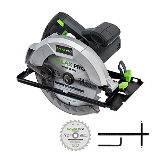 GALAX PRO 10 A 5800 RPM Hand-Held Circular Saw, Bevel Angle(0 to 45°) Joint Cuts with 7-1/4 Inch Blade, Adjustable Cutting Depth (1-5/8' to 2-1/2') for Wood and Logs Cutting-GP76331