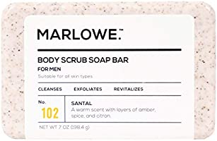 MARLOWE. No. 102 Men's Body Scrub Soap 7 oz   Warm Santal Scent   Best Exfoliating Bar for Men   Made with Natural...
