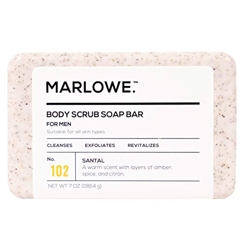 MARLOWE. No. 102 Men's Body Scrub Soap 7 oz | Warm Santal Scent | Best Exfoliating Bar for Men | Made with Natural Ingredients | Green Tea Extract | Updated Scent
