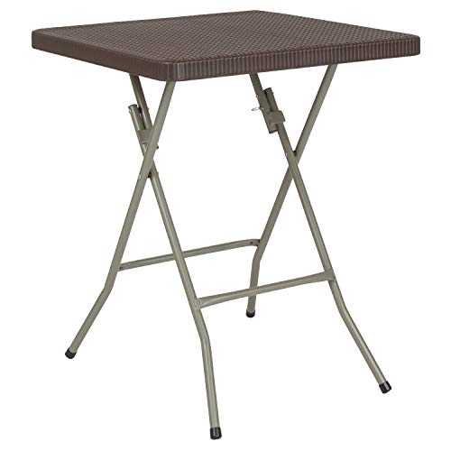 Flash Furniture 23.5'' Square Brown Rattan Plastic Folding Table, DAD-FT60-GG