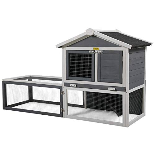 """COZIWOW 61""""X23.6""""X36"""" Indoor Outdoor Wooden Large Small Animal Hutch,Pets Crate House for Rabbit Bunny Cage Dog Cat Squirrel Hamster Hedgehog Guinea Pig Habitat Chicken Coop"""
