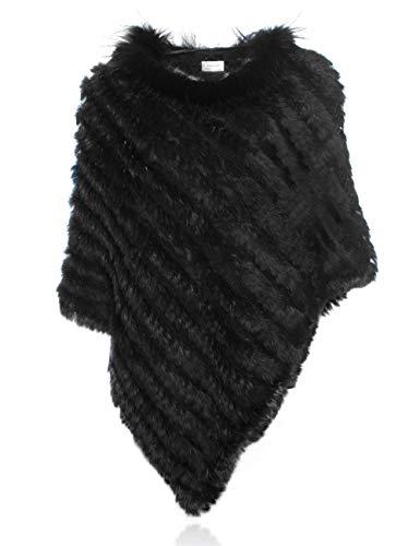 HEIZZI Natürliche Kaninchenfell Poncho Gestrickt Pullover