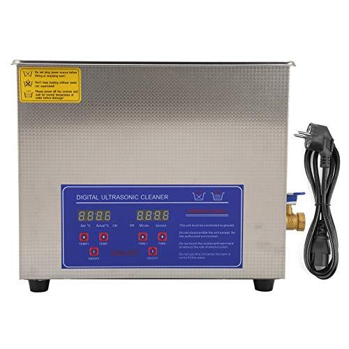 LANTRO JS - Limpiador ultrasónico de alta eficacia de 10 l con tanque de limpieza digital de acero inoxidable y temporizador para limpiar monedas, uñas, anteojos,reloj y reloj Enchufe de la UE