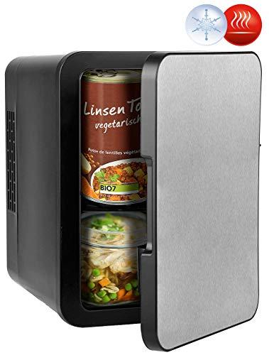 Rosenstein & Söhne Autokühlschrank: Mini-Kühlschrank mit Warmhalte-Funktion, Edelstahlfront, 12/230 V, 4 l (Mobiler Mini-Kühlschrank)