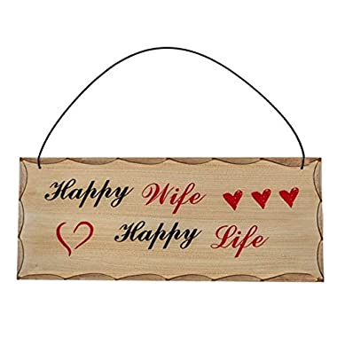 Happy Wife Happy Life  Home Décor Wooden Sign - Wedding, Newlywed, and Anniversary Gifts for Wife - Housewarming Gifts