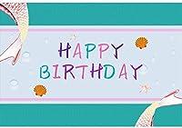 HD 7x5ft誕生日ビニール背景ハッピーバースデーマーメイドテールシェルテーマ写真の背景誕生日パーティーの装飾ポートレート写真撮影スタジオ写真ブース小道具