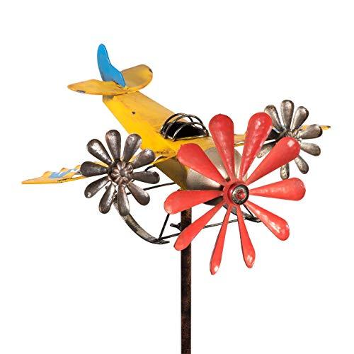 CIM Metall Windrad - 3-Prop Yellow - wetterfest mit Antik-Effekt - Windrad: Ø18cm/10cm, Motiv: 38cm x 37cm - Gesamthöhe: 160cm - inkl. Standstab