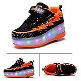 YURU Pattini A Rotelle per Bambini LED Skate Shoes Pattini A Rotelle Illuminati Scarpe da Ginnastica Sportive da Skateboard Tecniche di Ricarica Retrattili,I-30