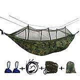 Camping Hängematte, Double 210T Parachute Nylon Tragbare Hängematte mit Moskitonetz, Packung mit Nylonseil + Baumgurten + Karabinern, Bis zu 1000LB, 260x140cm