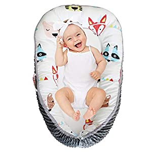 Abreeze Baby Lounger Baby Nest Red Fox Portable Soft Cotton and Breathable Newborn Lounger Adjustable Crib Bassinet Baby Snuggle Nest Perfect for Co-Sleeping 0-24Month