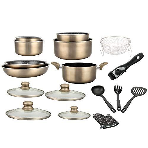 Batterie de cuisine - lot de casserole induction - set casserole et poele tous feux - set de cuisine de 17 éléments « spécial cuisson » avec casseroles et poêles revêtement marbre et poignée amovible