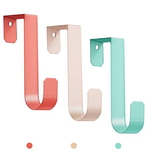 Trenect Over The Door Hooks for Clothes Sturdy Metal Single Door Hooks for Hanging Coats Hats Robes Towels Jacket 3 Pack Over The Door Hook for Bathroom Bedroom Office Hanging Decorative Coat Hooks