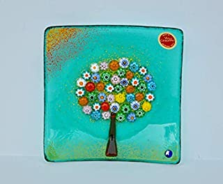 Murano Glass Tree of Life Plate, Large, Teal
