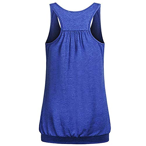 Julhold Blusa de color sólido cuello redondo sin mangas camiseta sin mangas con diseño plisado en la parte posterior