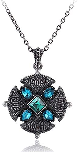 AMOZ Collares, Joyas, Utilizados para el Collar Vikingo Nórdico de Cristal Azul Triskele Knot Symber Kolovrat Totem Charm Collares Pendientes para Mujeres Collier Gargantilla Joyería