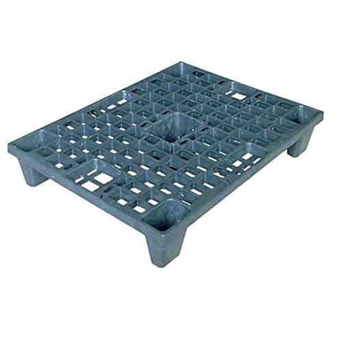 Pallet in plastica riciclata (PP), Mis. 600 L x 800 P x 140 H mm, con 5 piedi, piano forato, portata statica 1100 Kg, portata dinamica 500 Kg