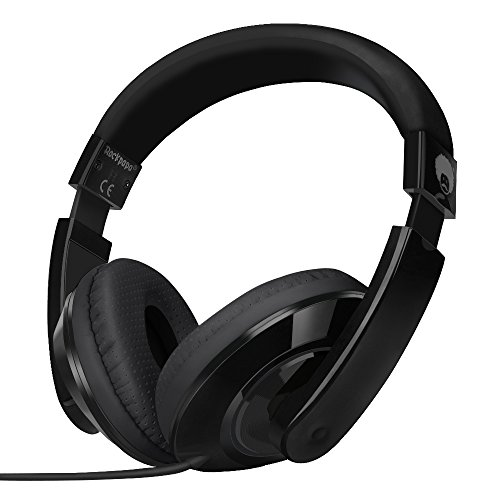 Rockpapapa Comfort Koptelefoon On Ear bedrade koptelefoon zonder microfoon voor kinderen en volwassenen, voor laptop, tablet, PC, computer, cd/dvd, MP3/4, zwart