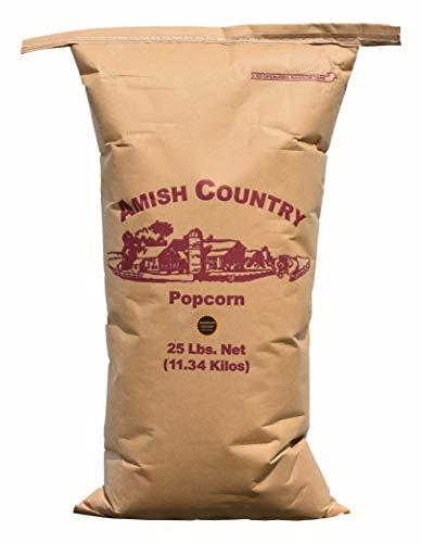 Amish Country Popcorn   25 lb Bag   Mushroom Popcorn Kernels   Old Fashioned with Recipe Guide (Mushroom - 25 lb Bag)