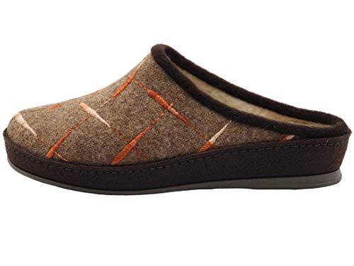 Schawos Filz Hausschuh für Damen, Modell Beatrice, Made in Germany, mit anatomisch geformtem Fußbett und aktiver Fersendämpfung, Farbe: Braun (Numeric_39)