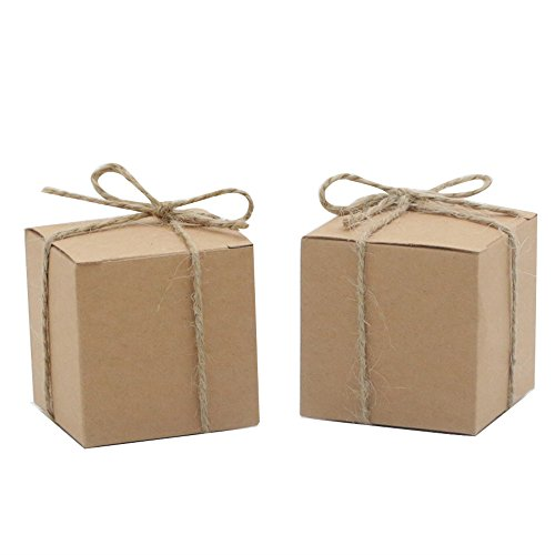 Amajoy 50pcs Kraft Favor Boxes with 50pcs Twine, Rustic Kraft Paper Candy Box for Wedding Favor Baby Shower Favor