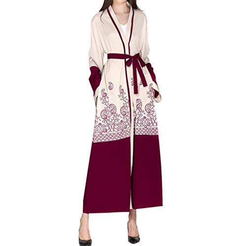 A-Artist Robe imprimée de Mode Musulmane du Moyen-Orient Cardigan Femme Manteau Islamique Couture Maxi Robe M-2XL