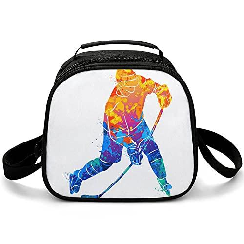 Bolsa Porta Alimentos Hockey Sobre Hielo Bolsas Térmicas Comida Bolsa Nevera Para Almuerzo Para Escuela Oficina Viajes 20x20x12.5cm