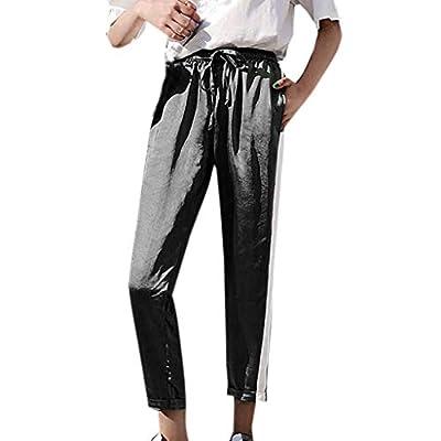 RAINED-Women High Waist Harem Pants Elastic Waist Stripe Casual Pants Strappy Fitness Low Waist Cargo Pants