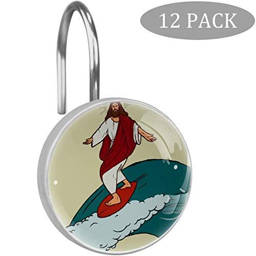 Jesus Christ Surf en la parte superior de las grandes olas, ganchos para cortina de ducha, acero inoxidable, anillos de ducha fáciles de deslizar, juego de 12 ganchos