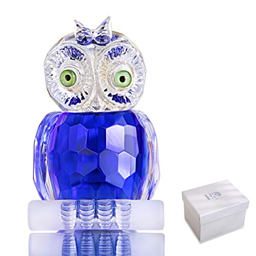 H&D HYALINE & DORA Mini Blue Crystal Owl Figurine,Glass Animal Collection Paperweight,Table Centerpiece Ornament