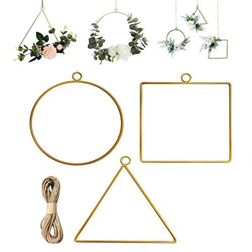 3 Piezas Corona de Aro Floral de Metal, Aro Floral de Metal, Macrame de Corona Dorada, para Manualidades de Bricolaje, Hogar, Oficina, Cocina, Decoración de Bodas