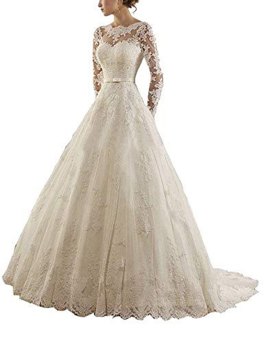 Lang Brautkleider Standesamt A-Linie Spitze Tüll Hochzeitskleider Prinzessin Brautkleid Langarm Elfenbein 38
