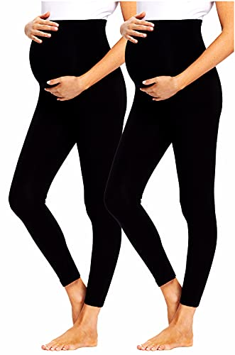 JMITHA Leggings para Premamá Largos Lote de 2, Algodón Super Cómodas Polainas de Maternidad Ropa Deporte Embarazo Pantalones Mujer Elástico Opaco Cintura Alta Polainas Maternidad Delgada