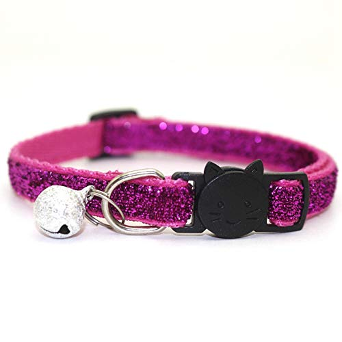 ZYYC Collar con Purpurina Productos para Gatos para Mascotas Collar para Mascotas Kat Harnas Pour Chat Chihuahua Collier Glitter Cats Collar-M_Neck Girth 19-32cm