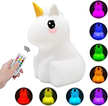 Kids Night Light Unicorn LED Touch Control Nightlight Mood Lamp with Remote Control Portable USB Rechargeable Multi-Color ...